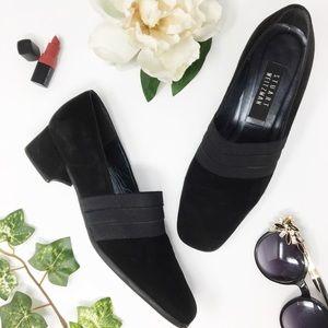 STUART WEITZMAN suede black loafers low heel